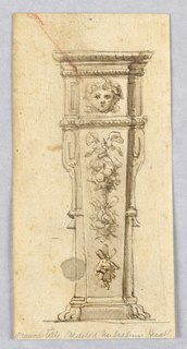 Elevation of a tapering pedestal with paw feet. A floral garland hangs from a ribbon at front center. A mask in a panel above this.