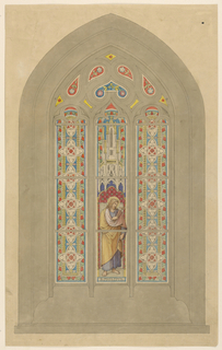 Three tall vertical panels. Left and right panels have the same design of geometric shapes and leaf patterns. The central panel shows the figure of St. Philip holding a cross below a Gothic canopy. Small ogival panels above, with floral motifs.