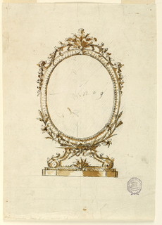 Design for an oval mirror on scrolling feet. Below, a faceted plinth. Crest with floral decoration.