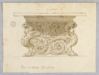 "Elevation of a table, the base in the form of fantastic animals with rinceaux. At left, a tablet reading ""SP""."
