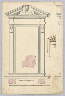 Elevation with detail of pediment. Two scales.