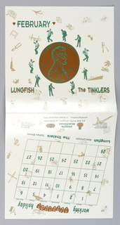 Record sleeve depicts a penny with figures surrounding it, dancing; other objects also surround it: television set, vacuum, bicycle, etc. Text in brown and green: FEBRUARY / LUNGFISH; The TINKLERS.
