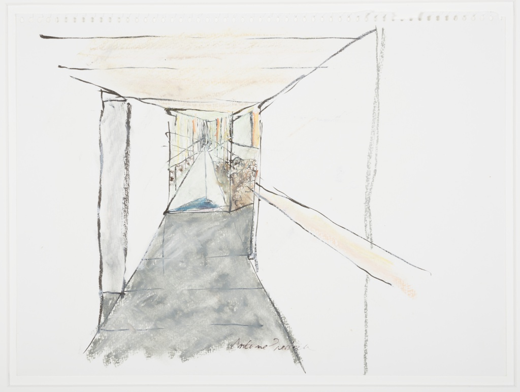 Sketch of the interior of a corridor in the Tacoma Art Museum which terminates in a view through a window onto a central stone garden.  The view through the window highlights the mirrored surface on the opposite side of the stone garden, which reflects the colors of the sky and landscape surrounding the museum, here suggestive of a colorful sunset.