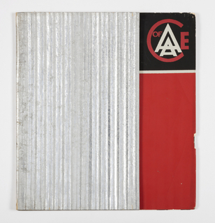 Cover with ridged silver-coated corrugated cardboard, red, and black ink. AACE logo  in red and white on black background in the upper right corner.
