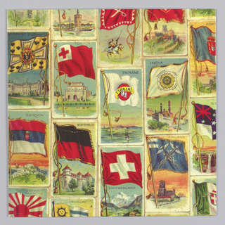 Record sleeve depicts several cards with flags from different nations and their attributes, including India, Switzerland, and Uruguay.