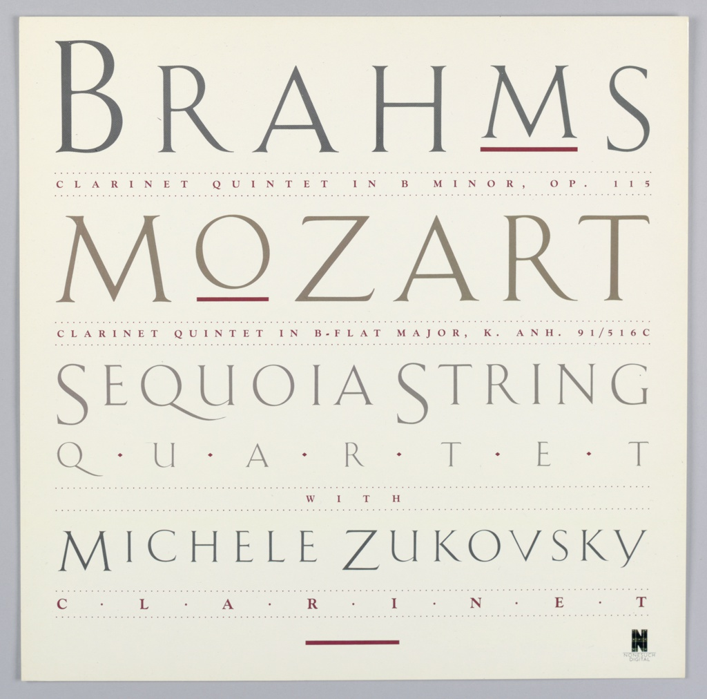 Square format exterior record sleeve with text in different grays and dark red on a cream ground: BRAHMS / CLARINET QUINTET IN B MINOR, OP. 115 / MOZART / CLARINET QUINTET IN B-FLAT MAJOR, K. ANH. 91/516C / SEQUOIA STRING / QUARTET / WITH / MICHELE ZUKOVSKY / CLARINET