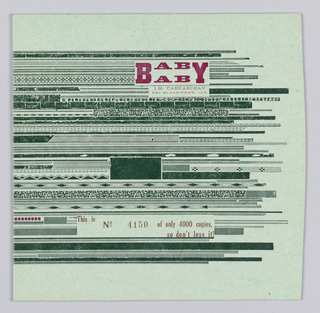 Record sleeve has horizontal textured stripes in black. Text in maroon: BABY / AB; below: This is No 4150 of only 4000, / so don't lose it!