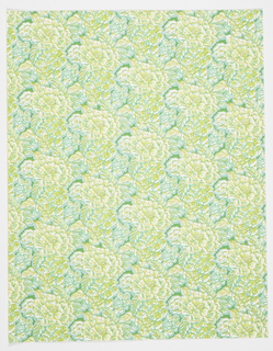 Seventeen screen-printed wallpaper designs with matching and coordinating screen-printed fabrics.