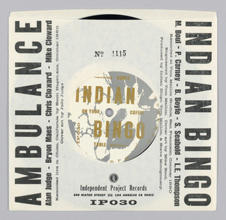 Record sleeve features a square at center that contains text: IPR INDEPENDENT PROJECT RECORDS / 10TH anniversary / 45. Text on sides: INDIAN BINGO / VOMIT ON YOUR COFFEE TABLE; AMBULANCE / BOBBY FISCHER.