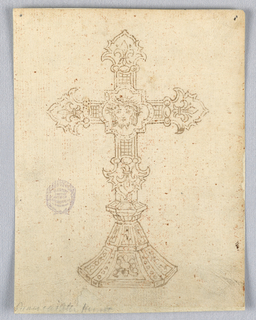 Design for a crucifix. At center, a cartouche with the head of Christ. At each point, a fleur-de-lys. Faceted base.