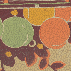 Collection of round fruit in solid colors of green, orange, and yellow. Behind the fruit is a collection of small burgundy leaves from which thin braches curl out, with some leaves attaches. The top border is several green, brown and white stripes with alternating squares of orange and white. An orange strip acts as the bottom border. The background is off-white. The paper is pebble embossed.