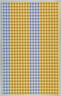 Alternating blue-white and yellow-white checkered stripes.
