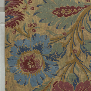 Sidewall with mottled multi-color ground overprinted with pendant floral motif at top edge. Top third of paer folds down. Printed on rough plaster-textured paper.