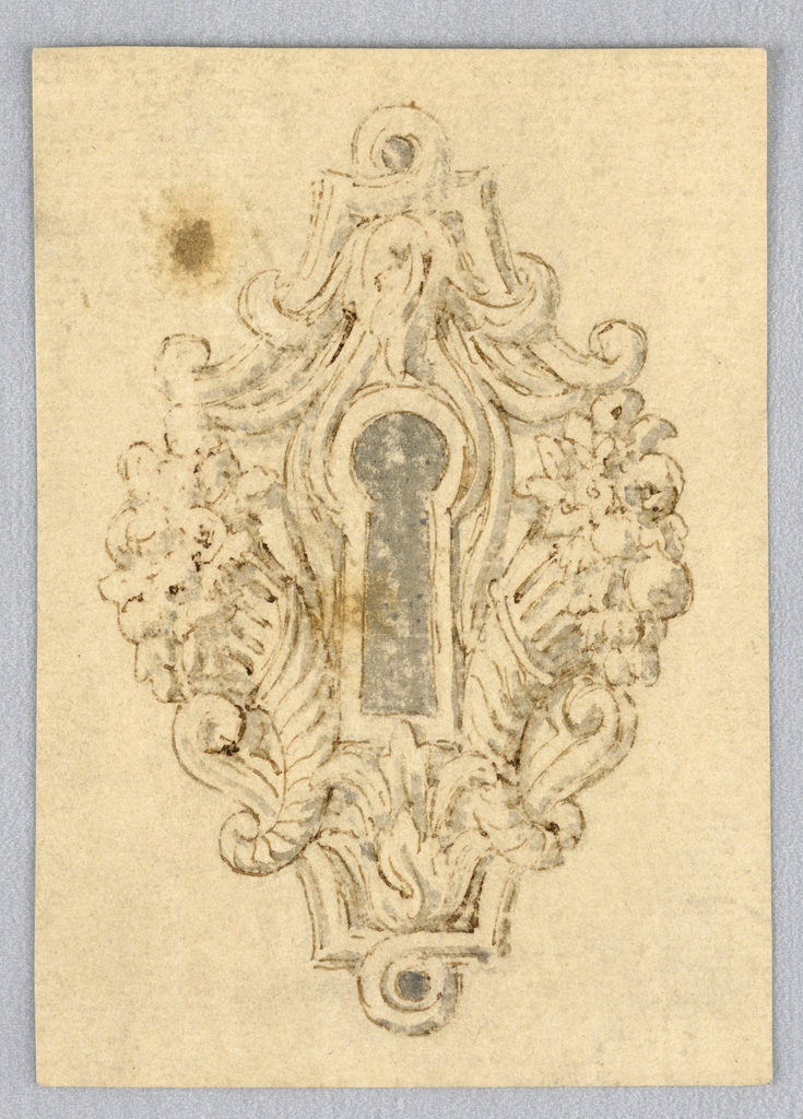 Vertical rectangle. Ornamental design for a door plate with keyhole at center, surrounded by two cornucopia.