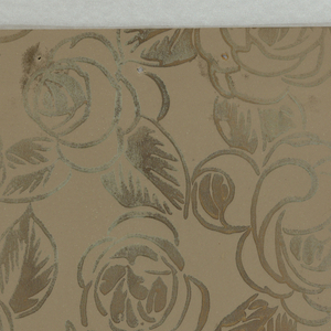 Stylized floral and foliate motif printed in metallic gold outline on taupe ground.