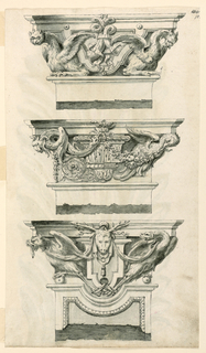 Three rows: above: two half figures, at left an owl, at right a dragon and a band motif. Center: in the center is a vase with, at left, a winged animal with two heads, the half figure of an eagle at right supporting a festoon hanging from a rosette, in the center of the cornice. Below: the head of a stag, in the center, and two fantastic birds supporting drapery festoons springing from a ring in the center. On verso: a leaf.