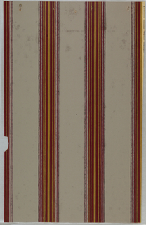 Vertical stripes of deep red, metallic gold and lavender on gray ground.