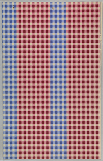 Stripe pattern of narrow band of blue and white check alternating with wider band of red and white check.