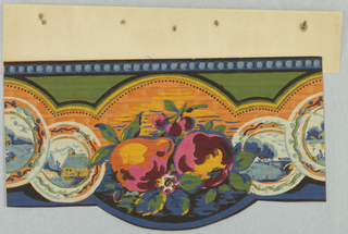 Strand of repeating plates with center medallion of fruit that cuts-out into wall. The fruit is set up as still-life and contains an apple, a pear, a white flower, and three cherries. The plates have different landscape scenes. The one to the left of the fruit contains a house. The one to the right contains trees. The plate cut in half by the repetition appears to be a water scene. The plates' have a thick orange border that cuts into the green background. The border is blue, the top is beaded molding with a lighter blue. The fruits are pink and purple with yellow highlights. The landscape scenes are shades of blue with yellow highlights. The background has an irregular stripe going horizontally across. The paper is machine printed.