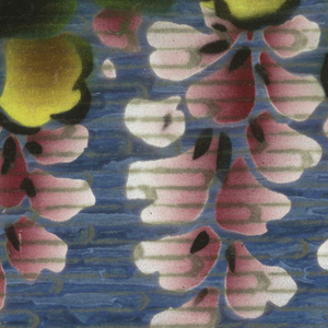 Flowers hang vertically from dark and yellow-green rounded, scalloped leaves that hang from the top of the border. The flowers are crimson in the center and radiate out to a light pink. Unusual striae ground in shades of blue, black and gray. Matches background color of coordinating sidewall.