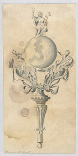 The upper part of the shaft is ribbed with a bow knot at bottom. At center, two women sit upon scrolls, supporting a globe showing Italy. On top, fits Faith or Religion holding a cross in the left hand and a chalice with the host in the right.