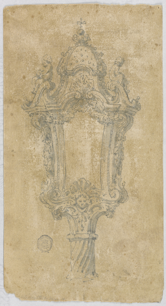 Design for a lantern on a spiraling pole. At top, two putti sit on either side of a broken pediment; a dome rises up behind, topped with a cross.