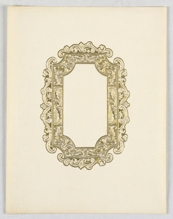 A frame with inner corners chamfered in curves and decorated with scroll-work and panels showing stylized leaves.