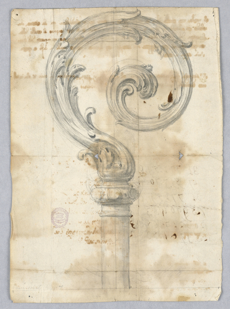 Design for a crosier with acanthus leaves curling to the right.