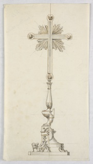 Vertical rectangle. A cross pommée with rays in the corners, and cherubim at the ends of the limbs, stands on a baluster which is supported by a vase on a pedestal. The alternative suggestions refer to the shaft and foot. The pedestal is supported by a lion with a rinceau tail at left, and by lion feet at right.