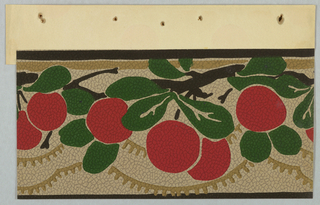 Flat, graphic red oranges/apples hanging from branches with rounded forest-green leaves. Framed by thin brown border.  Below top border a taupe stripe weaves in-between the leaves and branches. The same color is used for two rows of fringed scalloping. Off-white background on pebble embossed paper.