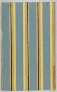 Stripe design. Wide band of light blue with yellow edge bands, alternating with wide light blue band with block pinstripe edge. On pebble-textured paper.