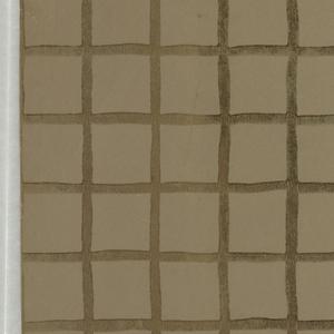 Metallic gold grid or trellis design printed on taupe ground.