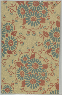 Art Deco sidewall with pattern using a motif of a bouquet of stylized sunflowers with teal petals and large red-orange centers; red-orange leaves peak out from underneath and red-orange vines with curling tendrils frame entire motif; motif is repeated in off-set columns on tan ground; illusionistic crazing gives texture effect of highly-worn leather.