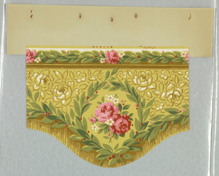 Cut-out Art Deco/Neo-Rococo valance with scalloped lower edge; design of a sprig of red roses and white primroses encircled by a wreath laden with red berries that also borders bottom edge; illusionistic fringe along bottom; thin frieze along top edge of roses on a leafy vine; watercolor-like rendering of foliage with naturalistic colors and shading; yellow-green ground on either side of central design features pattern of roses and leaves rendered in pure olive-green outline with white highlights.
