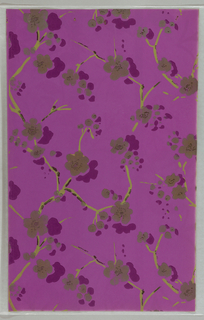 Art Deco sidewall with all-over pattern of yellow-green branches bearing splotchy purple flowers; flowers have tiny speckles of black on their centers; irregular grey specks are spattered around the flowers; magenta ground.