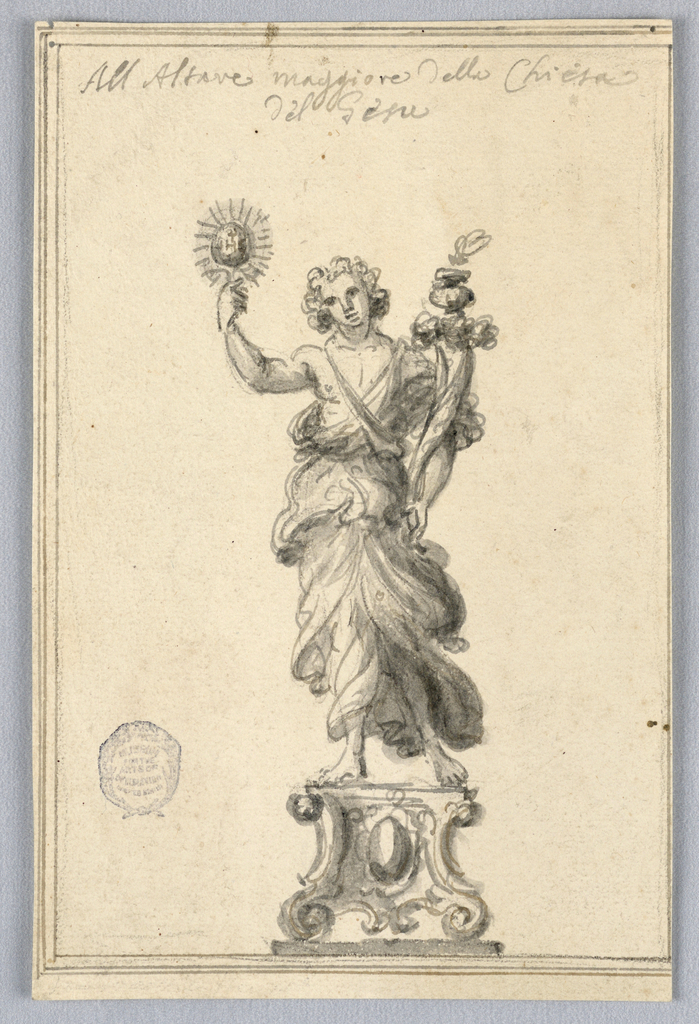 A robed figure hands upon a plinth, holding a cornucopia in one hand and a luminous sphere in another.