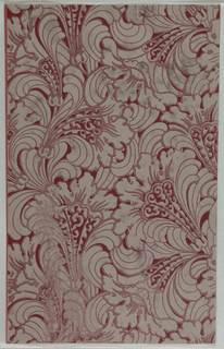 Art Deco sidewall with Neo-Renaissance or Neo-Baroque all-over design of lush stylized white arabesques of leafy bellflowers; flowers have raised red-brown outlining; red-brown ground.