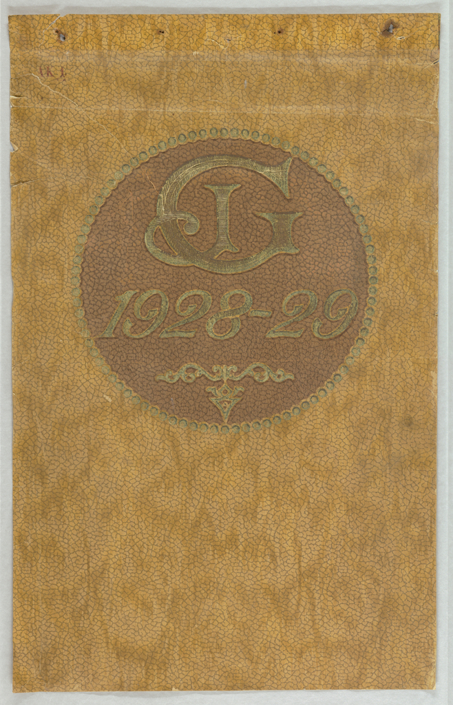 Sample book cover containing circle with active years of the patterns and manufacturer's logo. Medallion is printed on paper stock resembling rough plaster in a tan color.