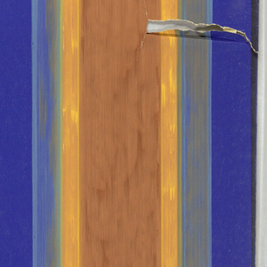Vertically striped paper with two wide central bands in rust, narrower blue bands on either side of both.