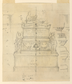 Drawing, Project for a Sepulcher Monument