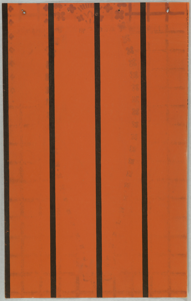 Bright orange paper porinted with widely spaced narrow black stripes.