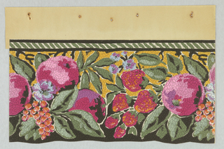 Collection of various flowers and fruits (strawberries, berries, grapes, apples) with leaves protruding into the foreground and small leaves in the background. The top border contains green and white horizontal stripes. The background is yellow. The flowers and fruits are mostly reds and pinks. The paper is pebble embossed.
