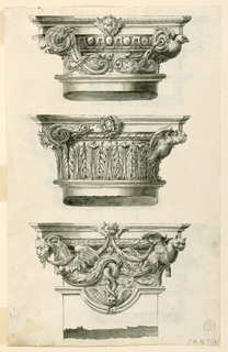 Three on each side in three rows: 1) in the center of the abacus the head of a wolf with wings of a bat. 2) At left, a volute, with a leaf mask; at right, half figure of a bird. In the center of the cornice a frog between leaves. At left a volute with a fantastic snake attacking the frog. At right, the half figure of a bird with a girl's head. Row of upright leaves. 3) the pillar capital; in the center of the abacus is a bird's head with wings supporting drapery festoons the opposite ends of which are supported at left by a winged dragon with a goat's head and at right by an owl. The pillar is broken. 4) instead of the volutes at left, a rinceau with a lion's head, and at right with a fish with a dog's head. Both support a festoon hanging in front of flutes. 1-4: dark olive. 4) with half figures of owls at the corners and a woman's mask in the center. 6) with a lion's mask in the center of the abacus, a ram's head at left, a girl's head at right. In the center a dog's head between crossed palm branches. 5 and 6 are brown, last two are in brown wash.