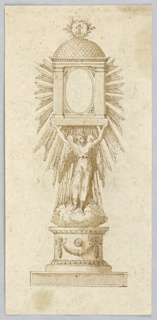 Vertical rectangle. A round pedestal stands upon an oblong base. It is decorated with a disc above a festoon. Upon it stands the figure of an angel upon clouds and supports with the raised arms the receptacle of the monstrance. It has an ovoidal glass in a frame with architectural forms. A cross in a palm wreath is on top of the scalloped dome. Laterally and below are rays of a glory.