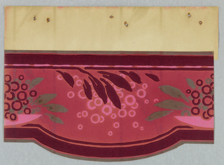 Foliage and circles on pink. Deep red bands along top and bottom edges. Cut-out bottom edge.
