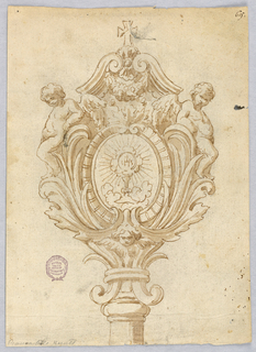 Elevation of the handle of a mace. Two cherubs lean against the leafy frame. At top, two volutes, with a garland and cross.
