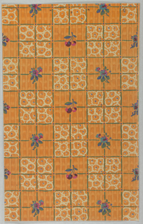 Tile-like decoration with irregular vertical stripes in background. Every other set of four tiles contains a flower print. Every other set tiles alternate with pink and blue flowers and purple cherries in the center of the four tiles. The background is pumpkin orange. The wallpaper is machine printed.
