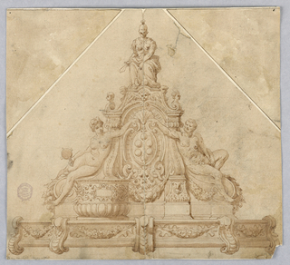 Pyramidal arrangement. At top, a seated female figure with sword, representing Justice. Below, a nude man and a woman with a mirror, representing Prudence, each extending hand over Medici coat-of-arms at center. Below, a low wall with swags.