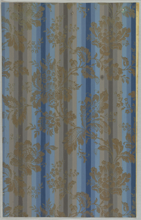 Art Deco sidewall with design of alternating groups of five blue or grey vertical stripes that vary in shade from lighter on the outer stripes to darker at the center; second stylized design printed on top of undulating stylized gold vertical vines with large flowers.