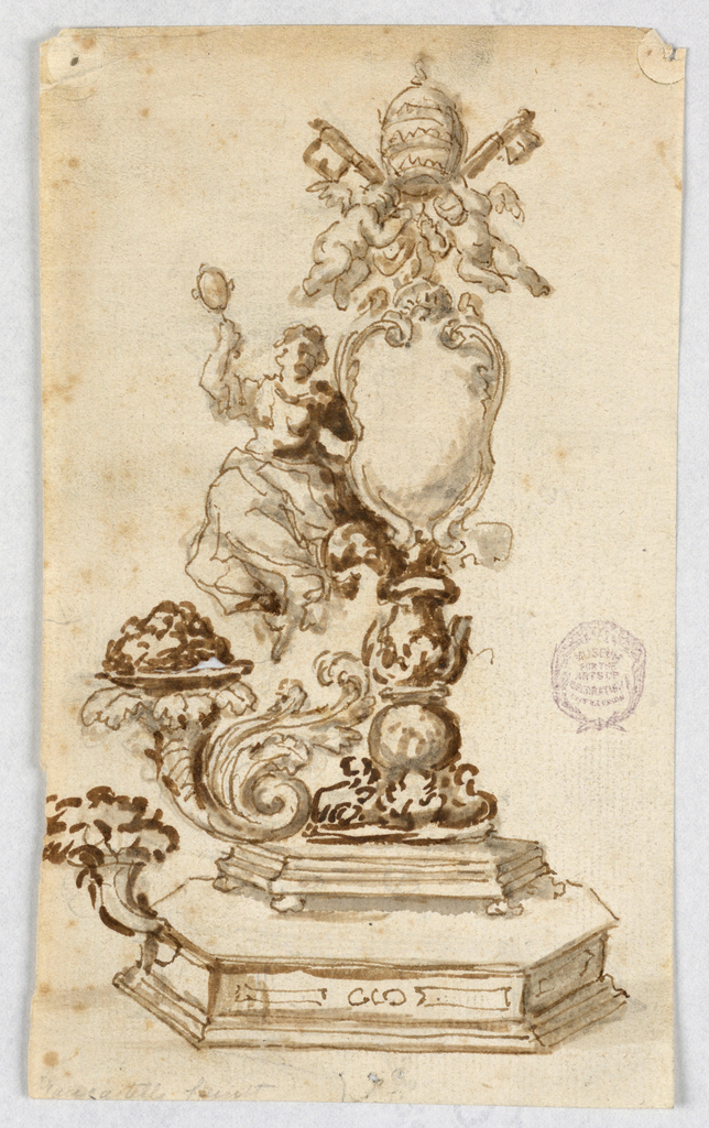Center and left side of design shown. An octagonal base with knobs as feet stand upon a wider one. Above this rises a column supporting an escutcheon topped by two putti holding the papal keys and tiara. Beside the escutcheon is the allegorical figure of Prudence, seated. Cornucopias rise from the bases.